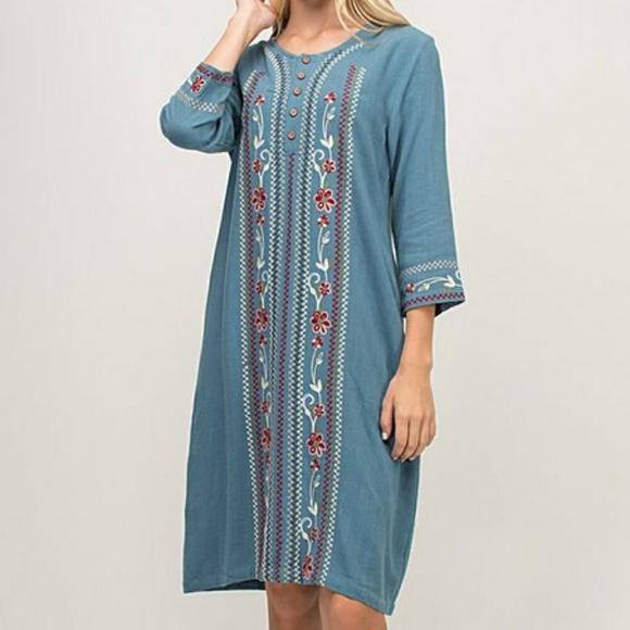 Hidden Alley Dresses & Skirts - Steel Blue Embroidered Linen Nursing Dress